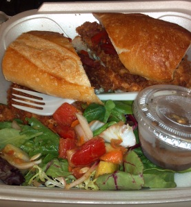 My Panko-Crusted Chicken and side salad as  a takeout meal.